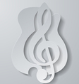 Abstract Music Treble Clef Cut from Guitar White vector image vector image