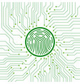 abstract sign fingerprint on circuit board vector image vector image