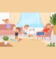 active kids games in living room hyperactive vector image vector image