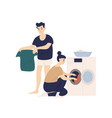 adorable funny couple sorting clothes and putting vector image vector image