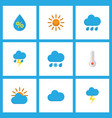 air icons flat style set with lightning cloudy vector image vector image