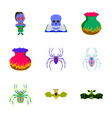 assembly flat halloween monster spider book skull vector image vector image