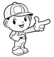 black and white soldier mascot guide gestures vector image vector image