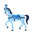 blue carousel horse vector image vector image