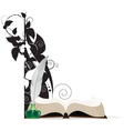 Book feather and floral silhouettes vector image