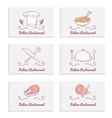 Business cards set with doodle food logos Hand vector image vector image