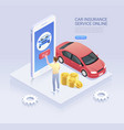car insurance online service isometric vector image vector image
