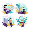 cartoon summer travel pages for mobile application vector image vector image