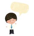 cartoon worried school boy raising hand with vector image