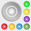 cogwheel icon sign Symbol on eight flat buttons vector image