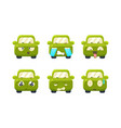 collection of car emoticons cute green car vector image vector image