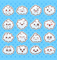 collection of cute lovely kawaii clouds doodle vector image vector image