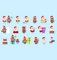 collection oxes and santa clauses christmas vector image vector image