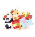 cute animals playing with christmas gift box vector image vector image