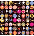 cute flowers birds hearts circles pattern vector image vector image