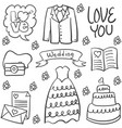 doodle of wedding various element vector image vector image