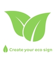 Ecology concept icon with green leaves
