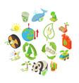 ecology icons set isometric style vector image