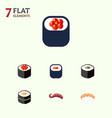 flat icon salmon set of sashimi seafood salmon vector image vector image