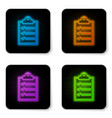 glowing neon clipboard with checklist icon vector image
