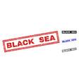 Grunge black sea textured rectangle watermarks