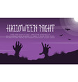 halloween night landscape with zombie vector image vector image