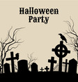 Halloween party on a spooky graveyard retro poste vector image