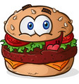 hamburger cheeseburger cartoon vector image vector image
