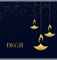hanging diya lamps with sparkles for diwali vector image vector image