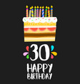 happy birthday card 30 thirty year cake vector image vector image