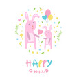 happy child banner template pink mother and kid vector image vector image