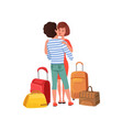 happy couple in love with travel bags man and vector image vector image