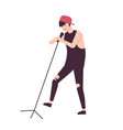 happy man singer rock vocalist or punk rocker vector image vector image