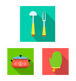 isolated object of kitchen and cook icon set of vector image