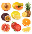 juicy ripe sweet fruit 3d realism icon set vector image vector image