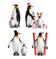 penguin winter activities realistic vector image