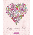 Pink Mothers Day card with big heart of spring fl vector image vector image