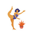 plus size woman in swimming suit dancing ballet vector image