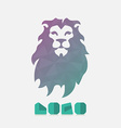 Polygonal hipster logo with head of lion in mint vector image