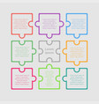 puzzle nine pieces infographic circle 9 steps vector image