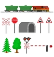 Railroad traffic way and train wagons for vector image