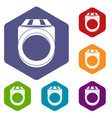ring icons set hexagon vector image vector image