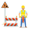 road repair male worker with vector image