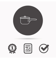 Saucepan icon Cooking pot or pan sign vector image vector image