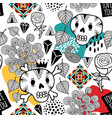 seamless pattern with doodle skulls and romantic vector image vector image
