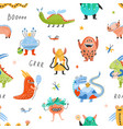 seamless pattern with happy fantastic monsters vector image vector image