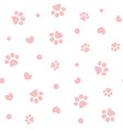 seamless pattern with pink pawprints and hearts vector image vector image