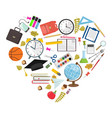 set of heart shaped school supplies vector image
