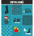 Set of labels and patterns for Finland vector image vector image