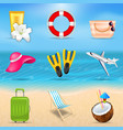 set realistic travel and tourism accessories vector image vector image